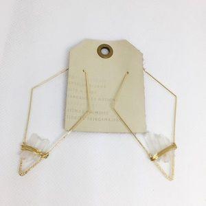NWT Anthropologie Gold Resin Hook Earrings